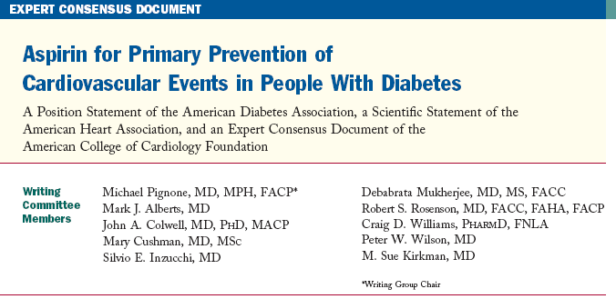 Aspirin for Primary Prevention of Cardiovascular Events in People With Diabetes New Join Position Statement of the of the ACC/ADA/AHA Aspirin (75 162