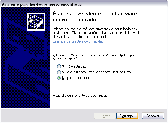- Conecte el dispositivo USB al ordenador A partir de Windows XP SP2, y Windows 7 saldrá una pantalla preguntando al usuario si desea conectarse a Windows Update para buscar los controladores.