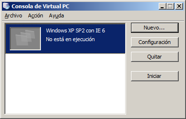 Escoger como disco duro virtual existente el descargado de la web de Microsoft Seleccionamos el fichero XP SP2 with IE6.