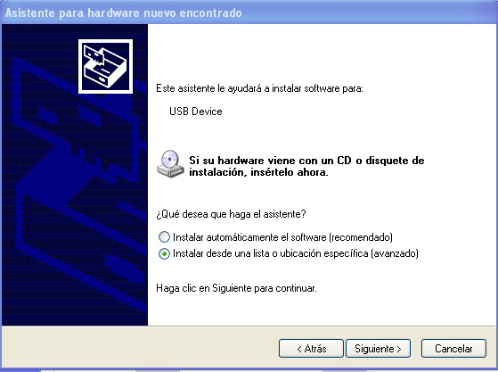 Paso 3 Instalar drivers para Windows (3) Seleccionar