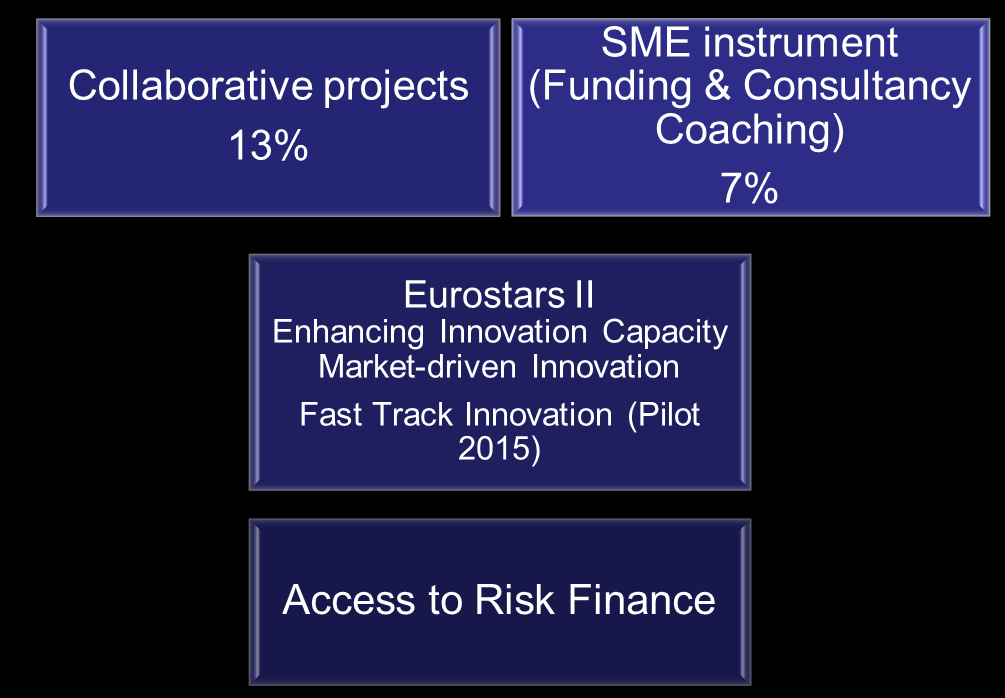 SME support: integrated approach 20 % budgetary target in LEITs & SC