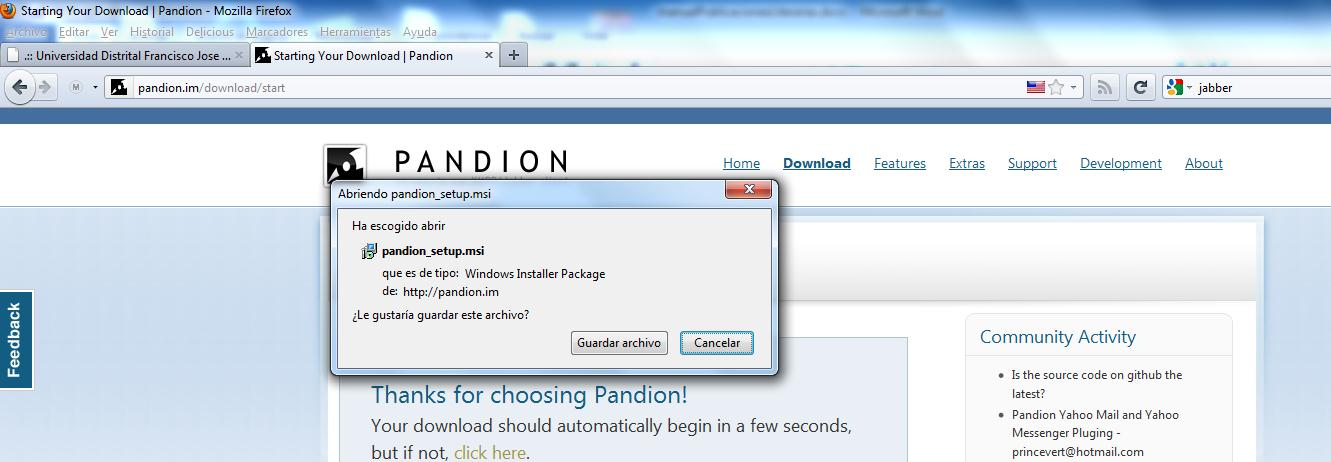 im/download/start, en la ventana emergente hacer click en Guardar archivo. Figura 1. Descarga del cliente Pandion.