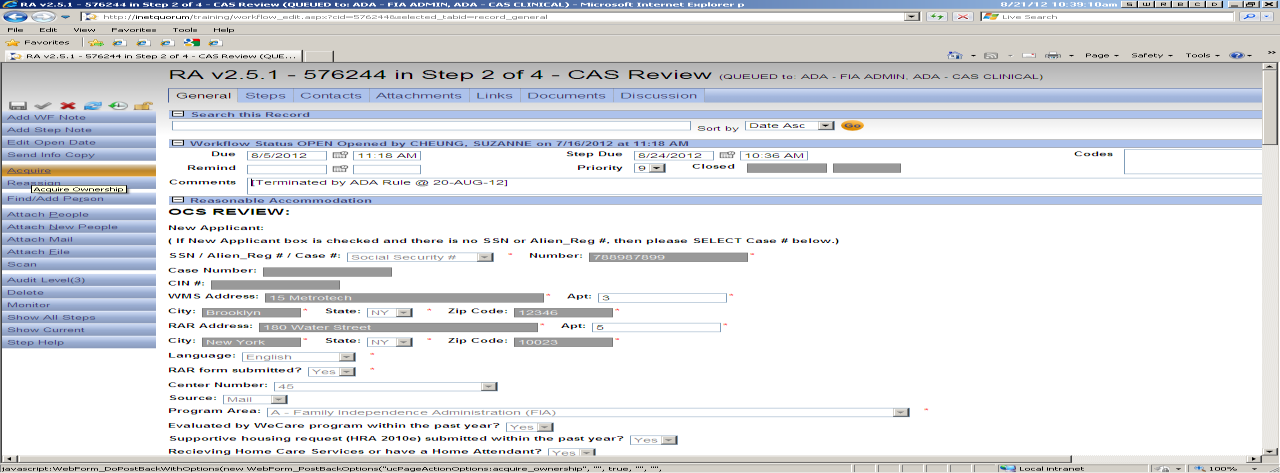 When they click on the link they will receive the following message : Clicking OK will start the Step Two CAS Review.