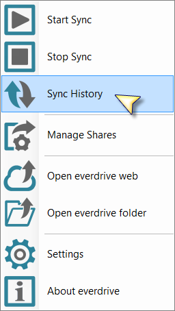5.2.2 Stop Sync Esta opción detiene el sincronizador de everdrive y con él la replicación de datos entre everdrive local y everdrive cloud. * Opción Stop Sync.