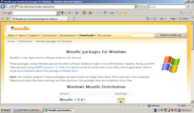 Figura 2: Selección de descarga de moodle para Windows.