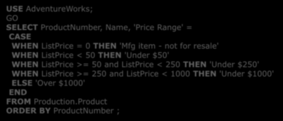 Funciones de Fila Función CASE Ejemplo: USE AdventureWorks; SELECT ProductNumber, Name, 'Price Range' = CASE WHEN ListPrice = 0 THEN 'Mfg item - not for resale' WHEN ListPrice < 50 THEN 'Under