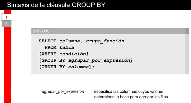 25 Agregado de datos utilizando funciones de grupo 2.5.5 La cláusula GROUP BY Si se usa la cláusula GROUP BY en una sentencia SELECT, Oracle9i Server divide las filas de una tabla o vista consultada en grupos.