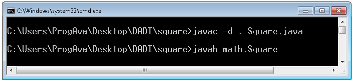 "Contenido del archivo Square.java package math; class Square { public native int getsquare(int x); static { System.loadLibrary(""Square""); } public static void main(string[] args) { int y=new Square()."