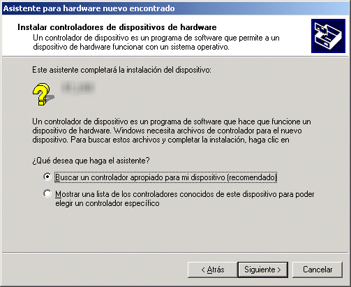 "En Windows 2000 Cuando Windows 2000 detecta el adaptador Bluetooth aparece una ventana que le indica que se ha detectado un nuevo dispositivo ""Plug and Play"""