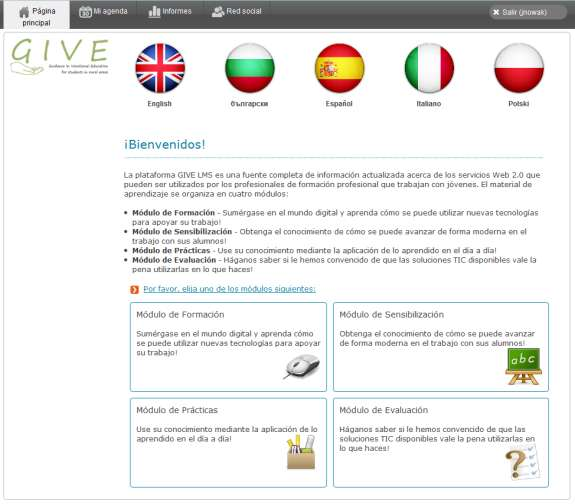 Página principal 4 5 6 7 8 9 10 8 11 12 The homepage after login contains links to various parts of the LMS