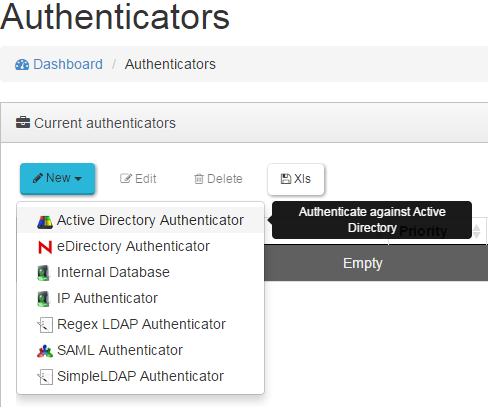 4.2.1 Active Directory Authenticator En un Active Directory Authenticator configuramos el nombre del autenticador, la IP del controlador de dominio (campo Host), un usuario (campo Ldap User) y un