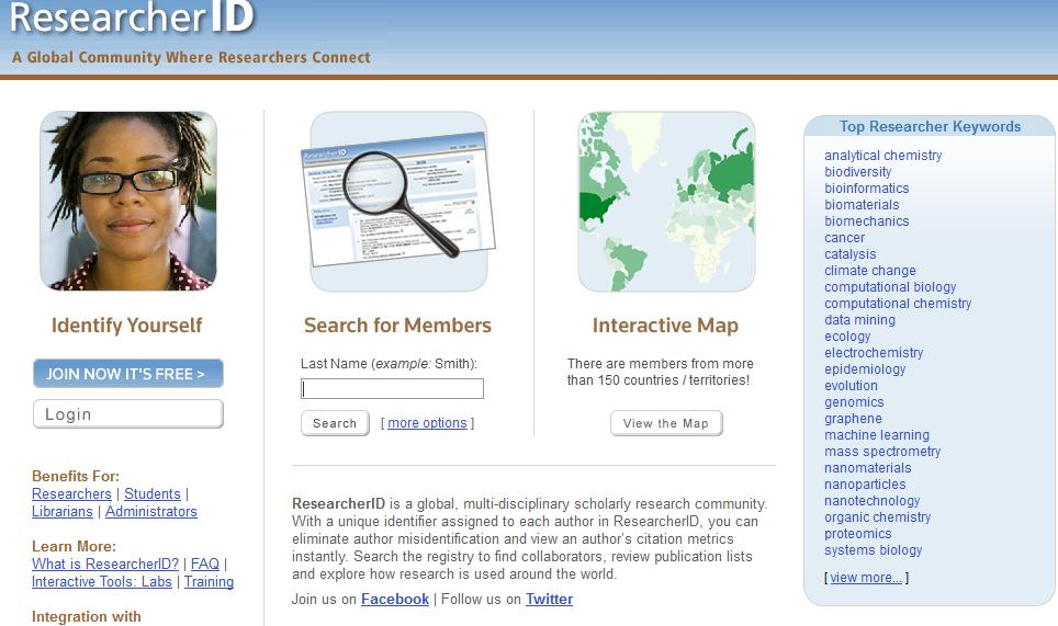 El perfil on-line de Researcher ID Registro