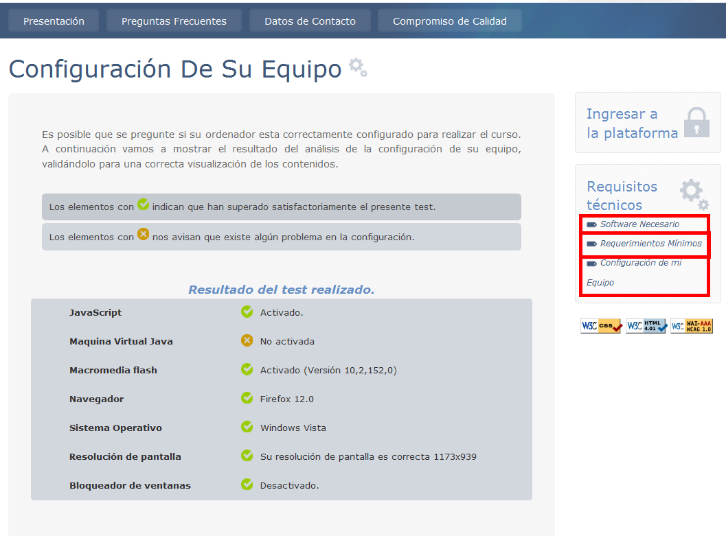 Figura 2: Requisitos técnicos - Software Necesario: Desde ese apartado se facilitan los enlaces para descargar el Flash Player y el Adobe Reader, imprescindibles para realizar el curso.