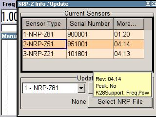 R&S SMA-K28 Demo Guide and Extended Operating Guide Measurement Modes With the exception of the NRP-Z27 and NRP-Z37, each sensor of the NRP family can be used for frequency and level sweep