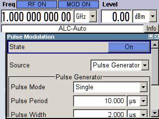 Demo Guide and Extended Operating Guide R&S SMA-K28 and press it again. This activates the Pulse Modulation control panel. Press the rotary knob again to activate the modulation.