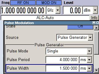 Demo Guide and Extended Operating Guide R&S SMA-K28 Recommended Settings for Pulse Modulation To open the Pulse Modulation/Generator dialog box: Press the key to display the diagram of the generator.