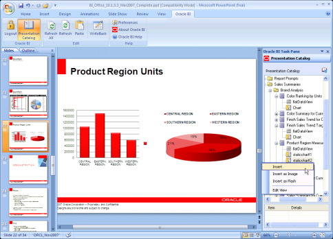 Integración con Office Oracle Smart View for Office Word Excel Powerpoint Acceso de Lectura y Esctitura Oracle BI EE Server o Essbase Modelo Común
