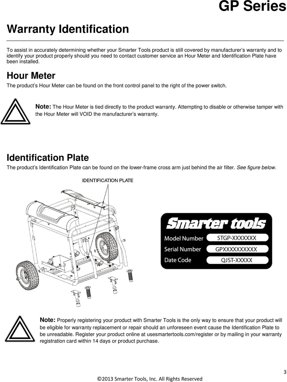 Note: The Hour Meter is tied directly to the product warranty. Attempting to disable or otherwise tamper with the Hour Meter will VOID the manufacturer s warranty.