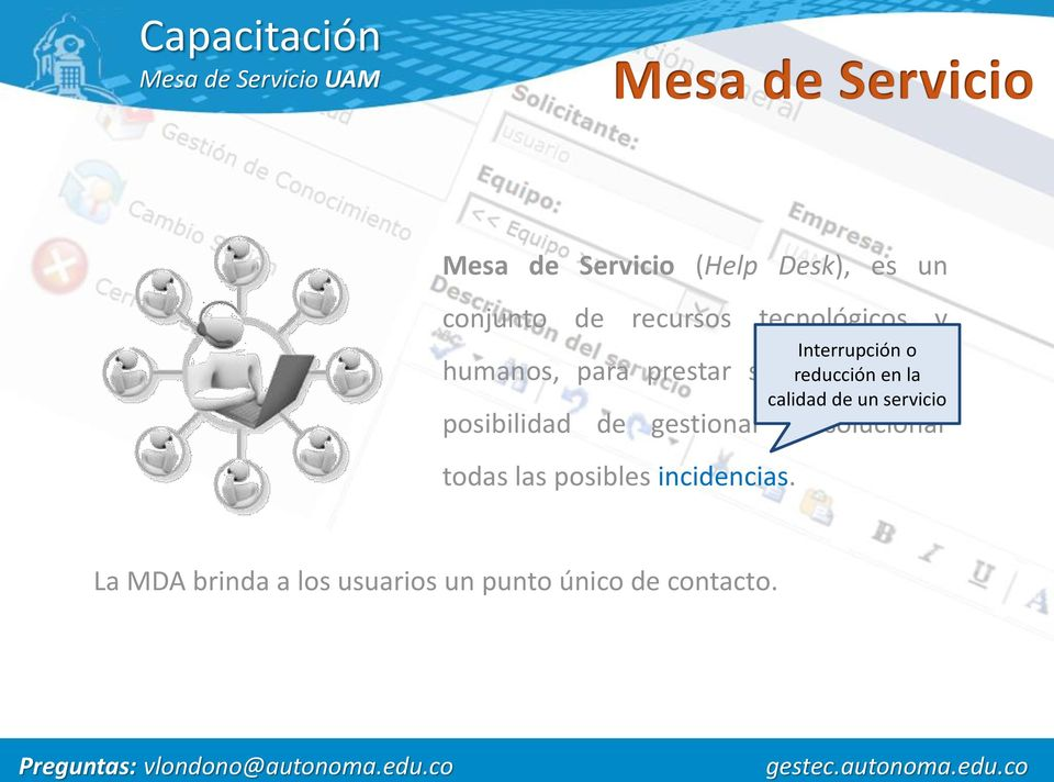 gestionar y solucionar todas las posibles incidencias.