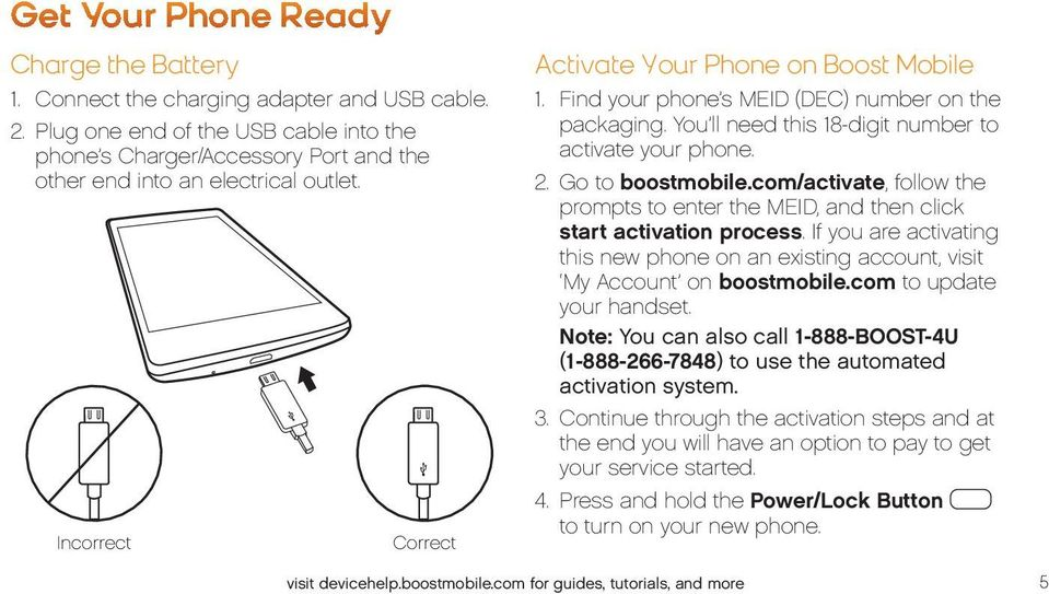 Find your phone s MEID (DEC) number on the packaging. You ll need this 18-digit number to activate your phone. 2. Go to boostmobile.