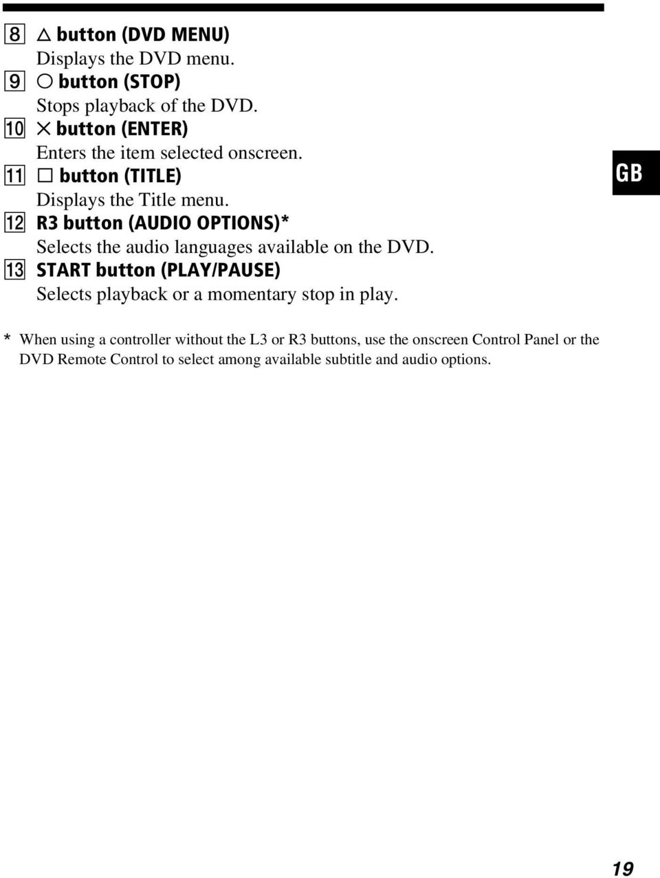 qs R3 button (AUDIO OPTIONS)* Selects the audio languages available on the DVD.