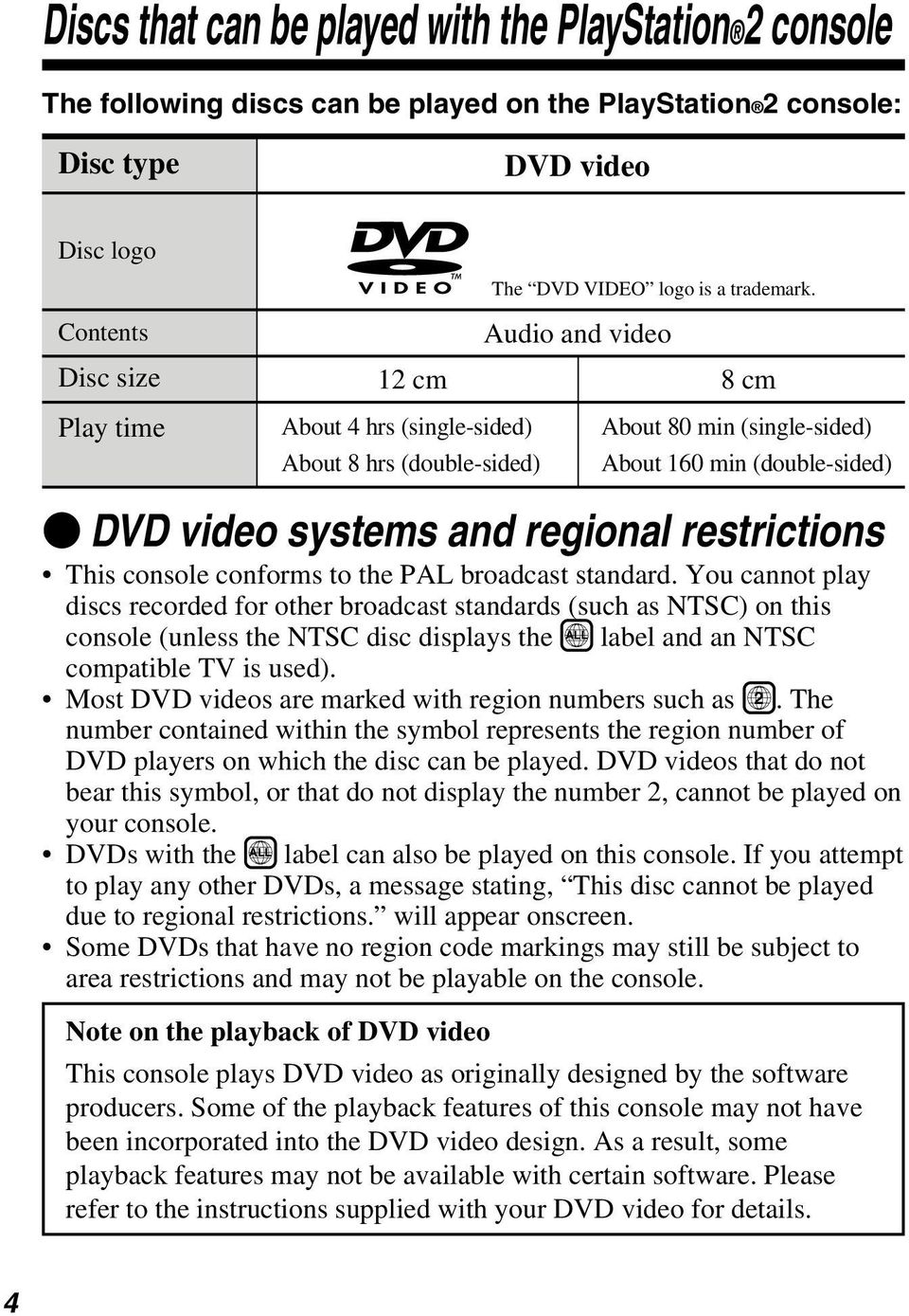 restrictions This console conforms to the PAL broadcast standard.