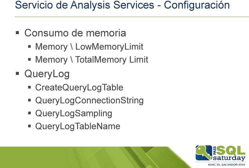 \ TotalMemory Limit QueryLog CreateQueryLogTable