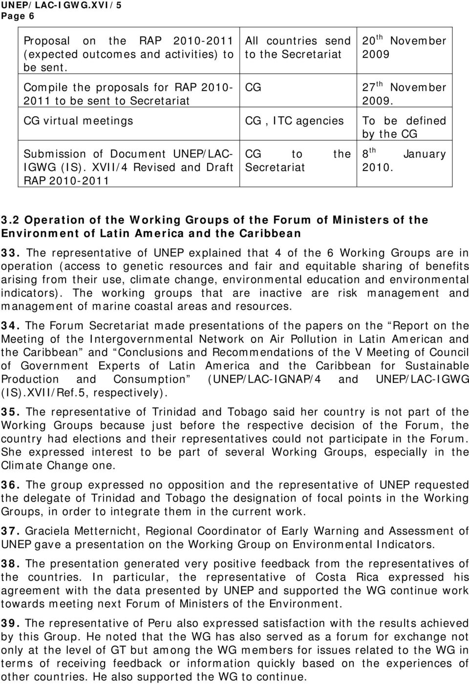 CG virtual meetings CG, ITC agencies To be defined by the CG Submission of Document UNEP/LAC- IGWG (IS). XVII/4 Revised and Draft RAP 2010-2011 CG to the Secretariat 8 th January 2010. 3.