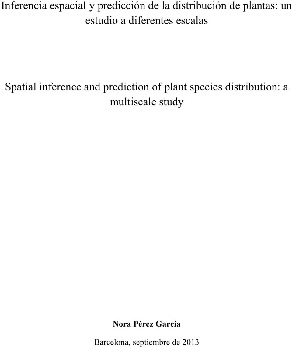inference and prediction of plant species distribution: