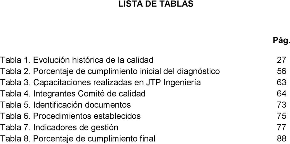 Capacitaciones realizadas en JTP Ingeniería 63 Tabla 4. Integrantes Comité de calidad 64 Tabla 5.