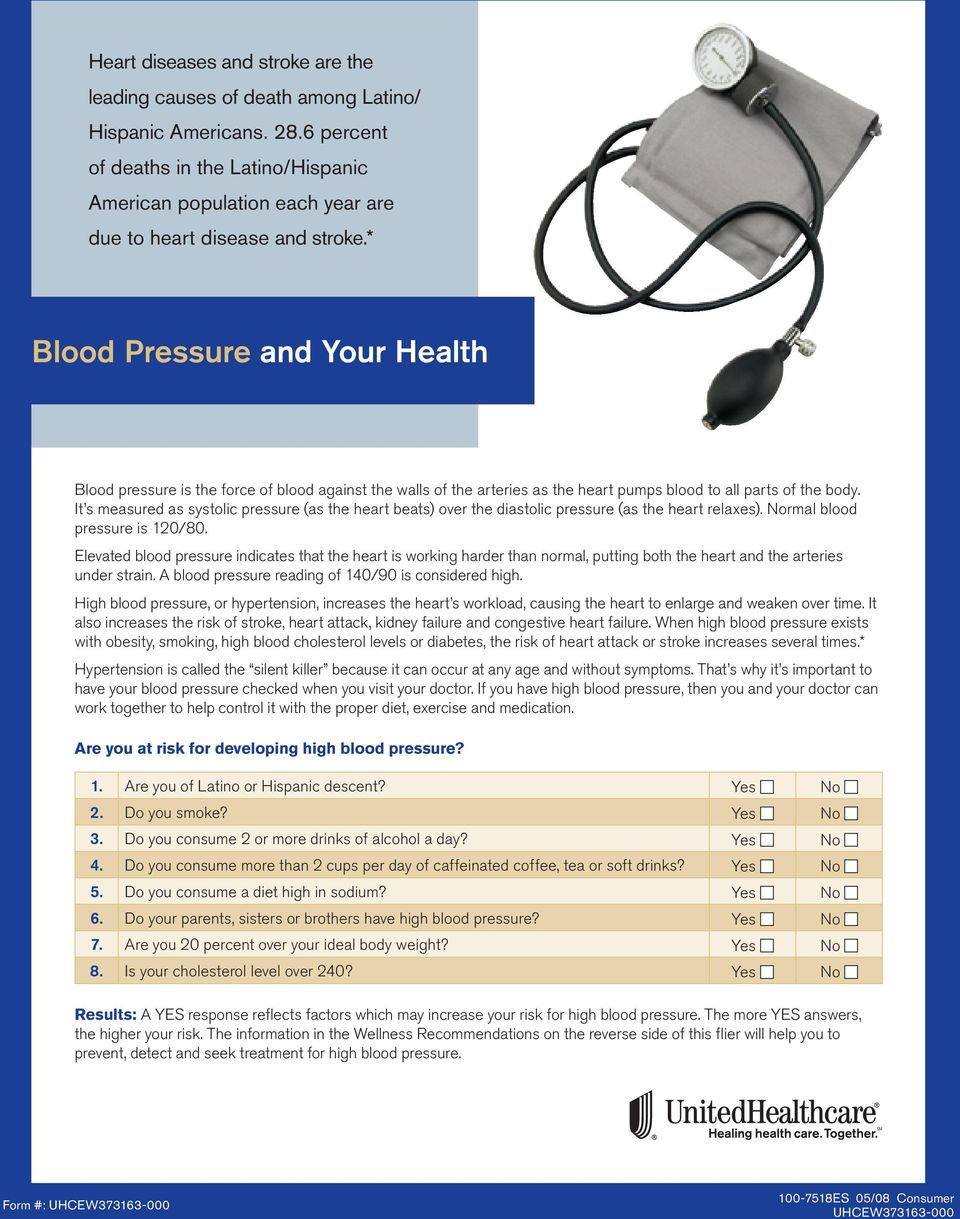 * Blood Pressure and Your Health Blood pressure is the force of blood against the walls of the arteries as the heart pumps blood to all parts of the body.