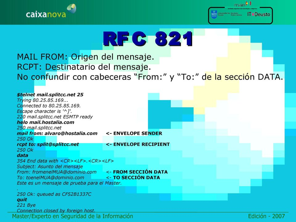 com <- ENVELOPE SENDER 250 Ok rcpt to: split@splitcc.net <- ENVELOPE RECIPIENT 250 Ok data 354 End data with <CR><LF>.