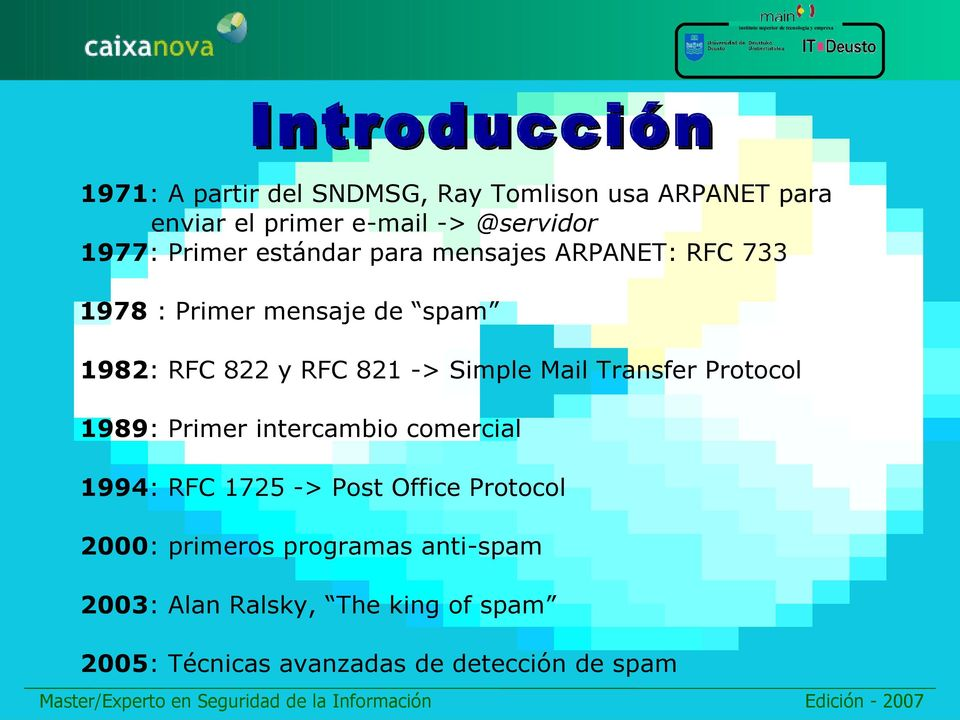 Simple Mail Transfer Protocol 1989: Primer intercambio comercial 1994: RFC 1725 -> Post Office Protocol 2000: