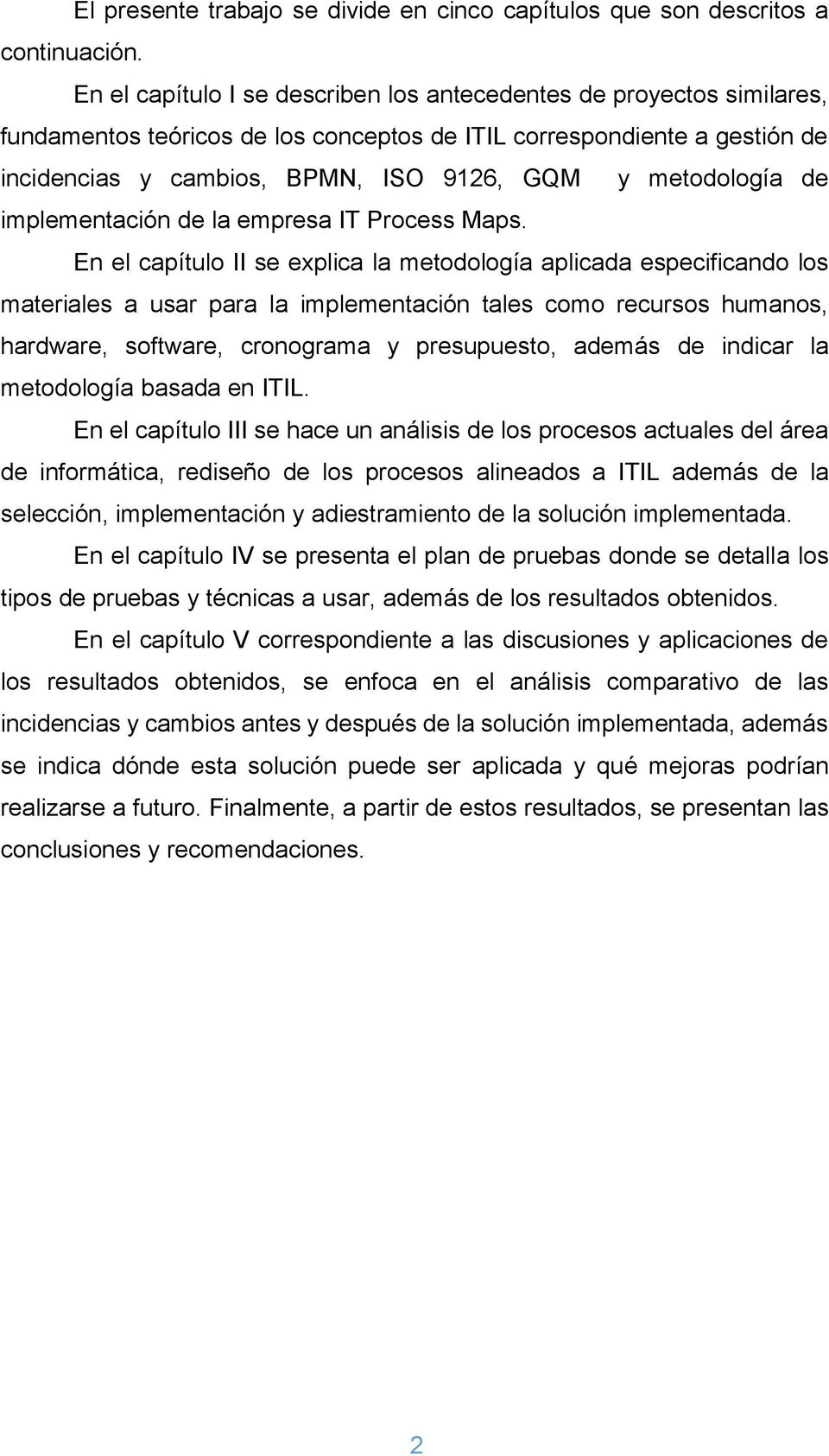 metodología de implementación de la empresa IT Process Maps.