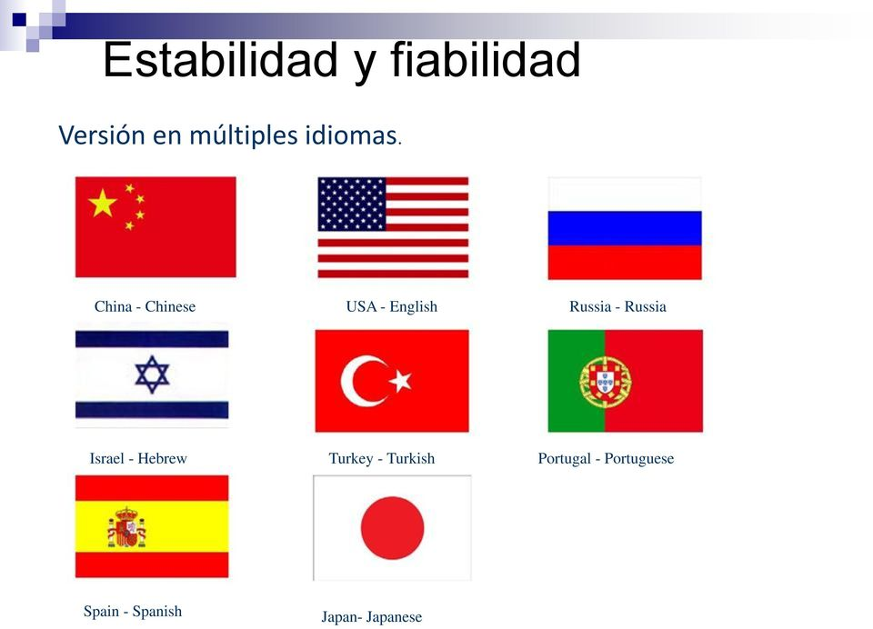China - Chinese USA - English Russia - Russia