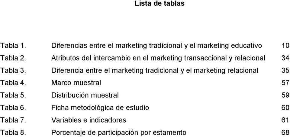 Diferencia entre el marketing tradicional y el marketing relacional 35 Tabla 4. Marco muestral 57 Tabla 5.