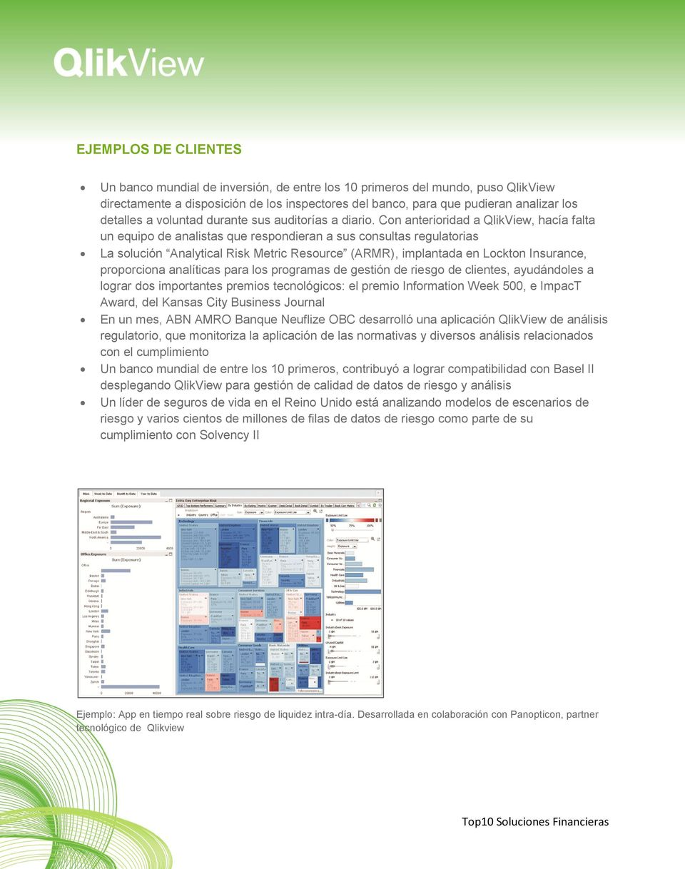 Con anterioridad a QlikView, hacía falta un equipo de analistas que respondieran a sus consultas regulatorias La solución Analytical Risk Metric Resource (ARMR), implantada en Lockton Insurance,