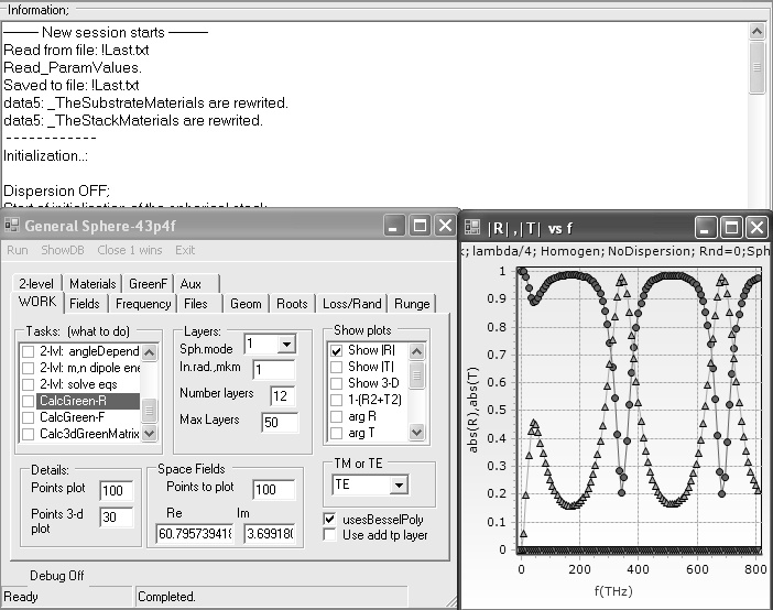 Fig. 3. Graphical user interface and example calculation of the reflection and transmittance coefficients.