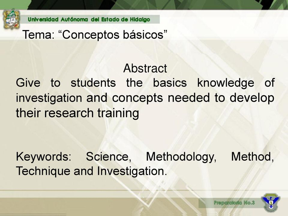 needed to develop their research training Keywords: