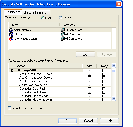 Configure FactoryTalk Security con el software RSLogix 5000 Capítulo 2 8.