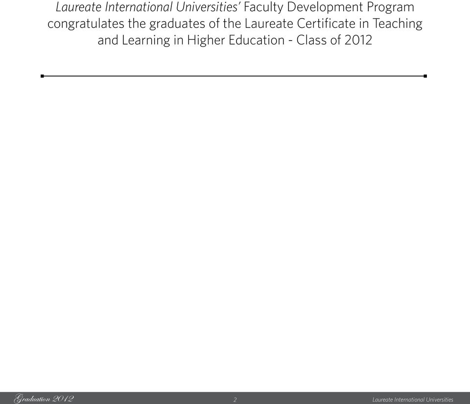 Laureate Certificate in Teaching and