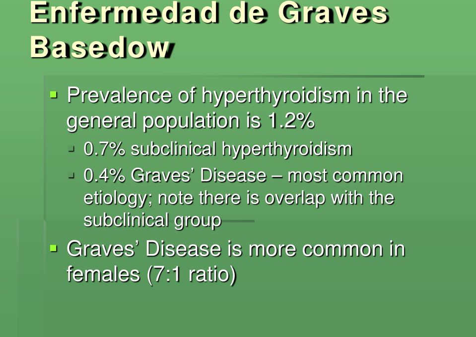4% Graves Disease most common etiology; note there is overlap with