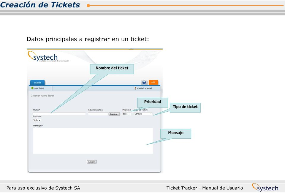 un ticket: Nombre del ticket