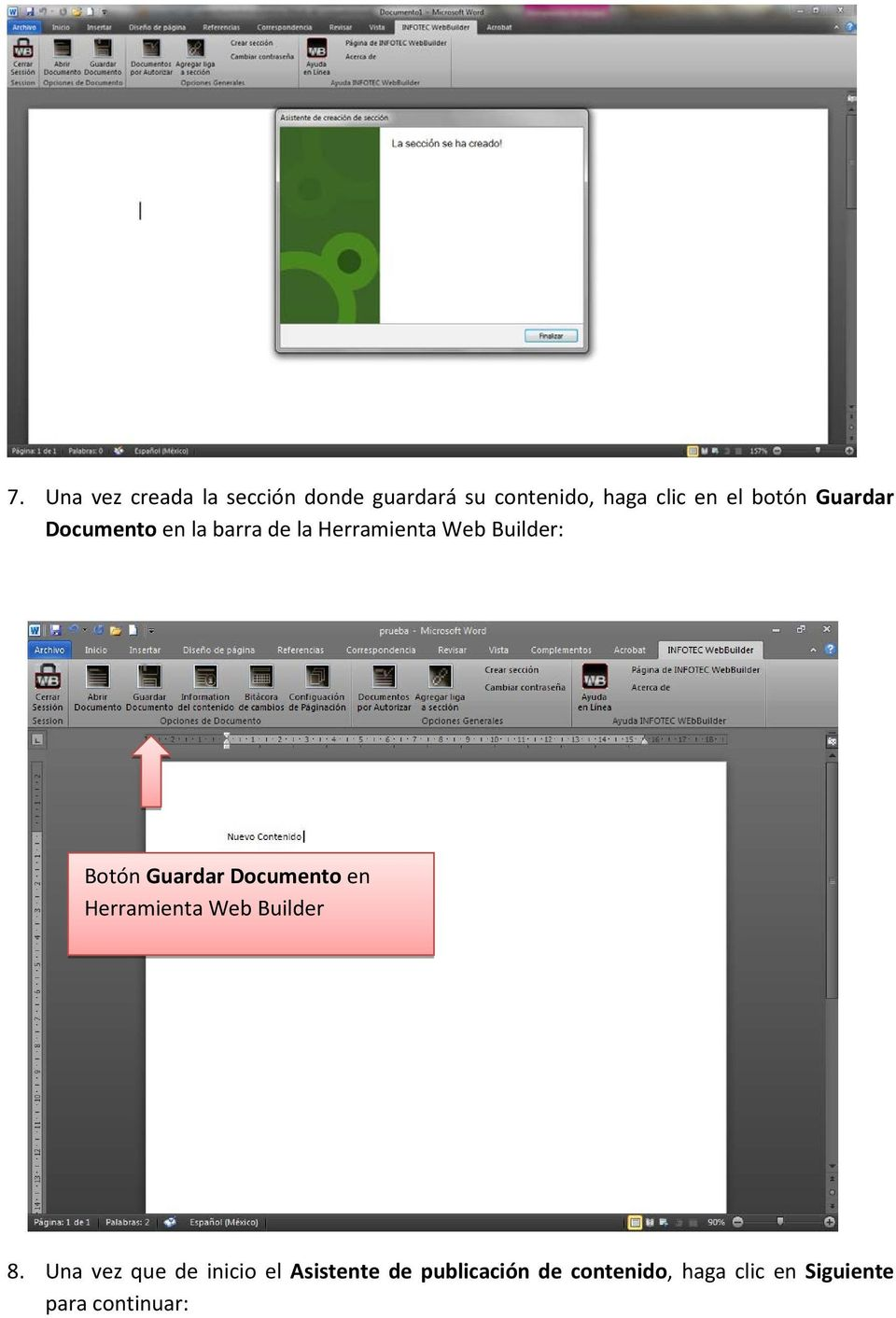 Guardar Documento en Herramienta Web Builder 8.