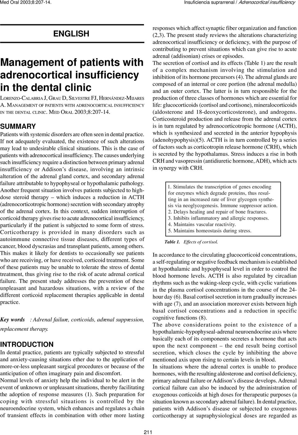 If not adequately evaluated, the existence of such alterations may lead to undesirable clinical situations. This is the case of patients with adrenocortical insufficiency.
