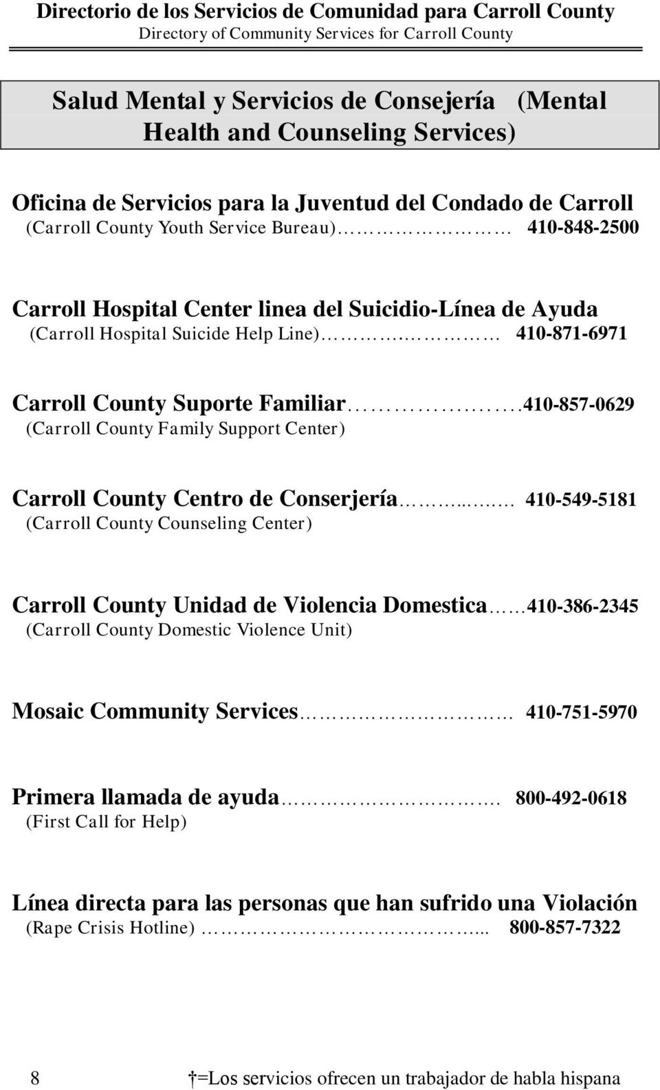 .410-857-0629 (Carroll County Family Support Center) Carroll County Centro de Conserjería.