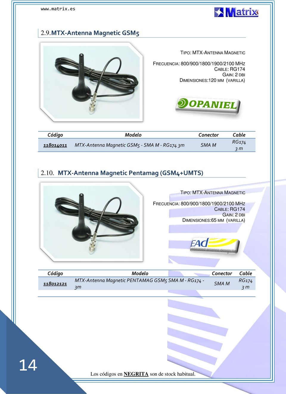 MTX-Antenna Magnetic Pentamag (GSM4+UMTS) TIPO: MTX-ANTENNA MAGNETIC FRECUENCIA: 800/900/1800/1900/2100 MHZ