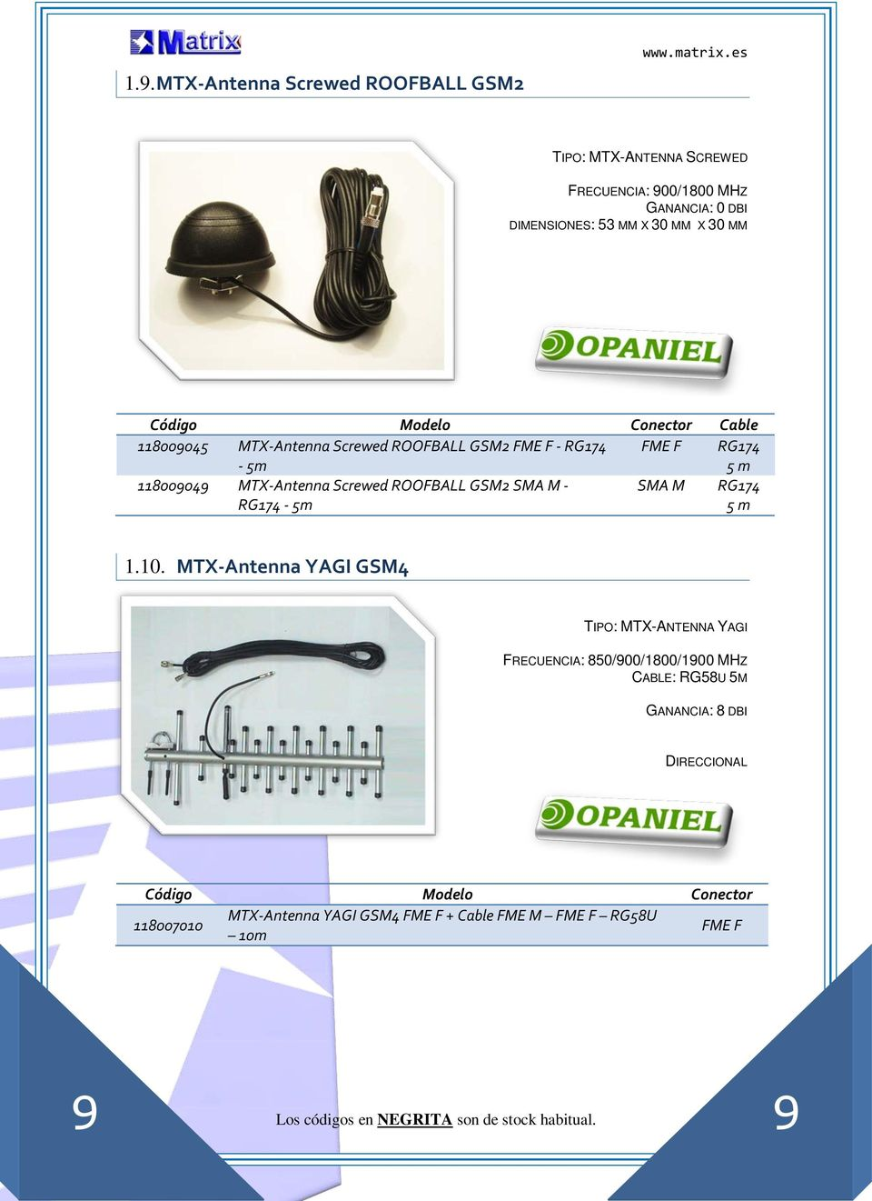 MTX-Antenna Screwed ROOFBALL GSM2 FME F - - 5m FME F 5 m 118009049 MTX-Antenna Screwed ROOFBALL GSM2 SMA M - - 5m SMA M 5 m 1.