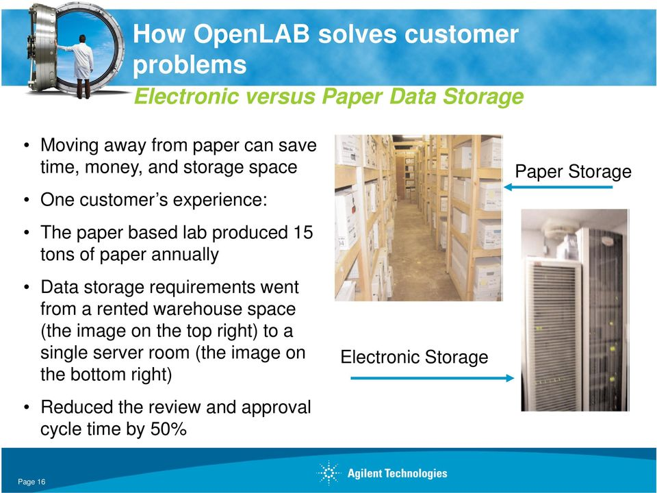 storage requirements went from a rented warehouse space (the image on the top right) to a single server room (the
