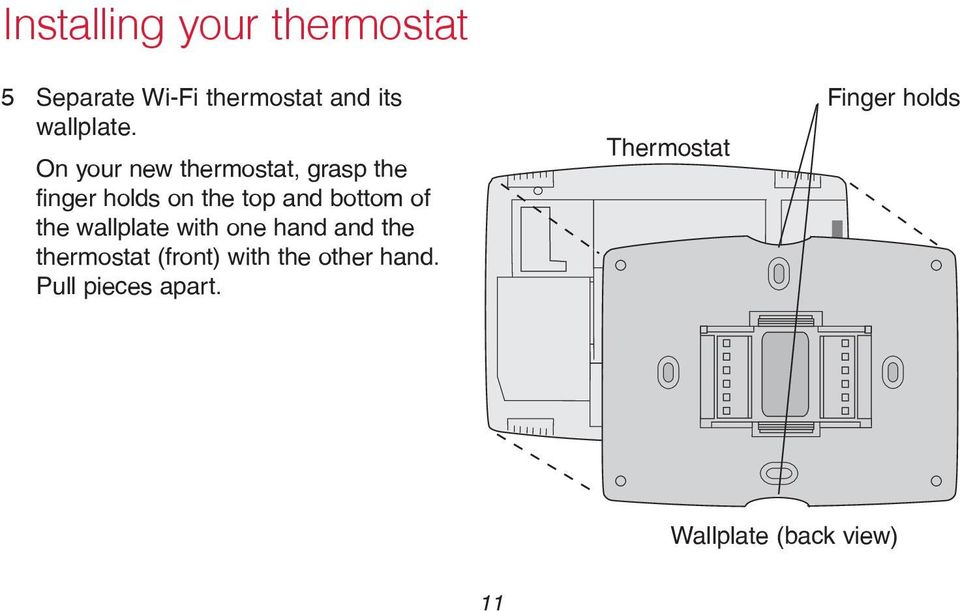wallplate with one hand and the thermostat (front) with the other hand.